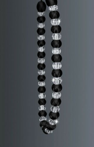One Crystal Beaded Modern Curtain Rope Tie Back, Decorative Holdback, Black
